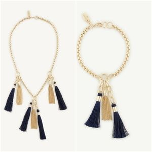 Ann Taylor Tassel Charm Necklace Bracelet SET